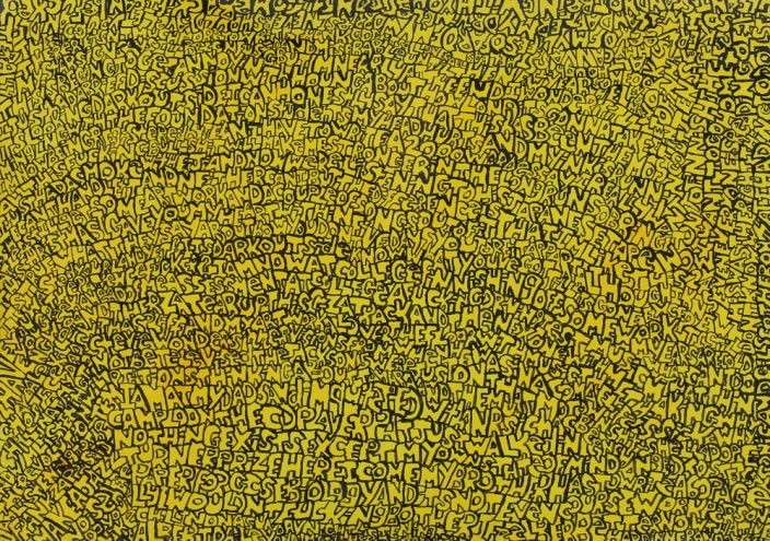 Words, 1998, Ink & Acrylic on card, 72 x 97 cm