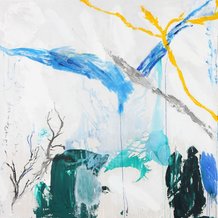 L'idée de hasard, 2009, Mixed media on canvas, 250 x 250 cm