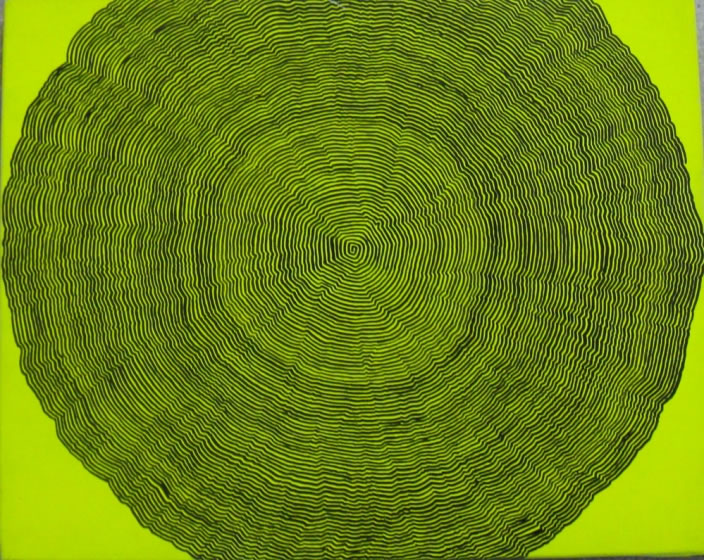Fluorescent Spiral, 2005, Paintpen & spraypaint on canvas, 40 x 50 cm