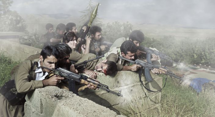 Theater of War, photographs with a group of Iranian-Kurdish guerilla fighters, Lambda print, 210 x 115 cm, Iraq, 2011-2012