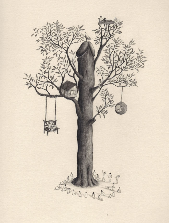 Emi Miyashita, Tree of Life, 2011, Pencil on paper, 25 x 32 cm