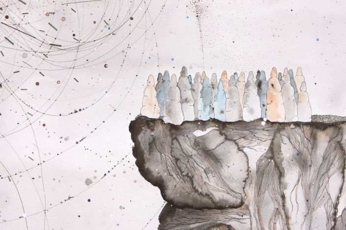 Hopeful Gatherings (Detail), 2012, Ink, aquarelle & acrylic lacquer on paper, 150 x 150 cm