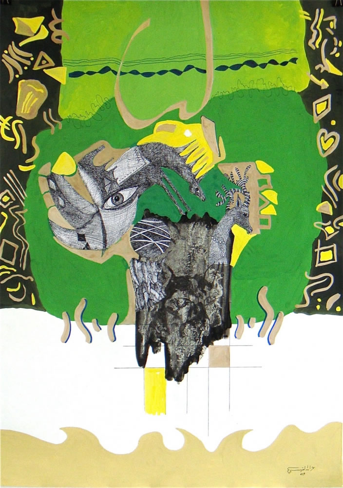 Untitled, 2009, Mixed media on paper, 70 x 100 cm