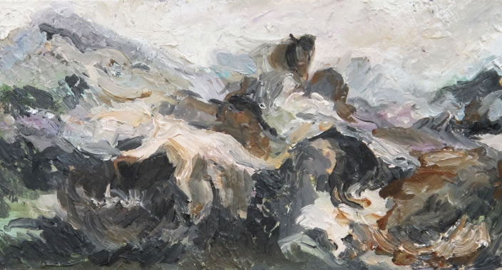 A romantic intervention or Horse and Reclining Naked Figure in Forest, 2011, Oil paint on canvas, 18 x 34 cm