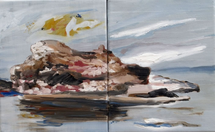 Rock Island, 2011, Oil paint on canvas, 25 x 40 cm