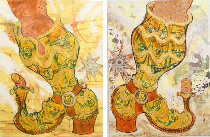 Hellbound Boot (left & right), Inck, acrylic & collage on paper, 61 x 76.2 cm each