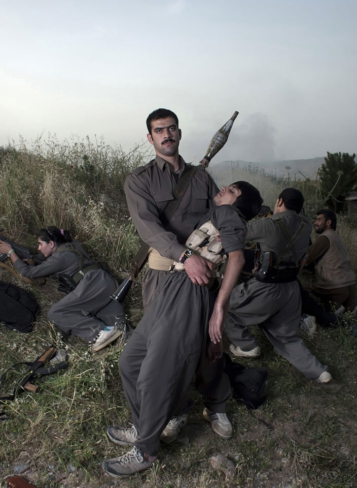 Theater of War, photographs with a group of Iranian-Kurdish guerilla fighters, Lambda print, 100 x 73 cm, Iraq, 2011-2012