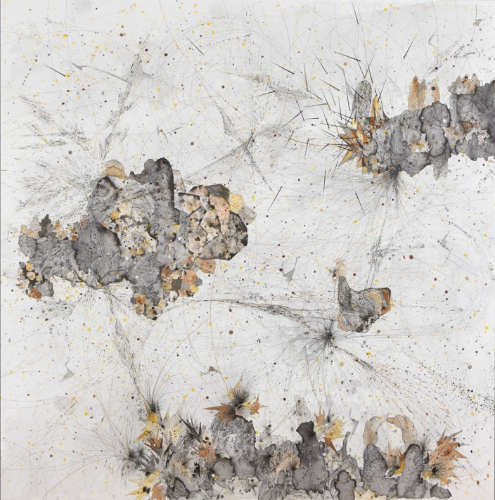 Necessary Affinities (Diptych detail), 2012, Ink & aquarelle on paper, 150 x 150 cm