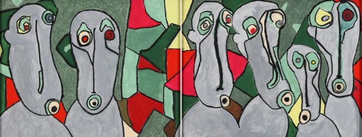 Macaques safari (diptych), 2013, gouache, pastel, charcoal and pigment on paper, 64x49cm each