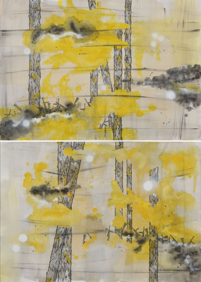 Selective Memory (Diptych), 2012, Ink, aquarelle & acrylic lacquer on paper, 70 x 100 cm each