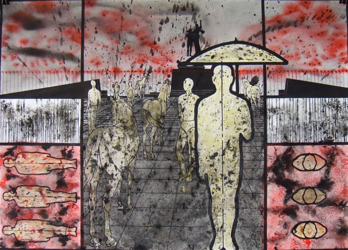 Alfred Tarazi, You're young and you'll forget, 2009, Mixed media on paper, 70 x 100 cm