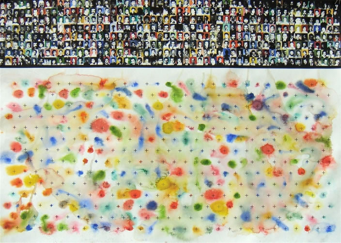 Alfred Tarazi, 147 Ways to Die, 2009, Mixed media on paper, 70 x 100 cm