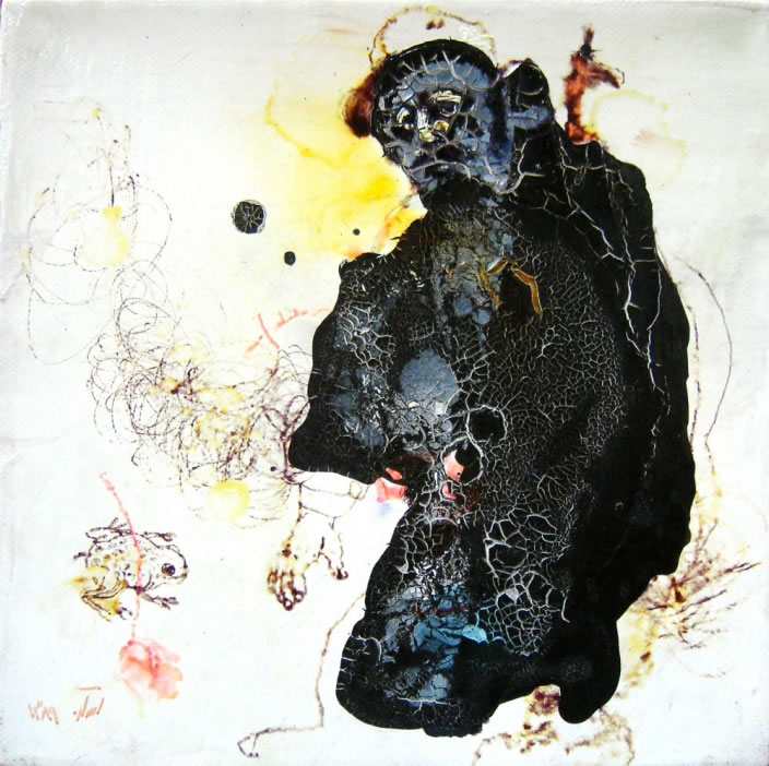 Asareh Akkasheh, Untitled, 2010, Acrylic and ink on canvas, 20 x 20 cm
