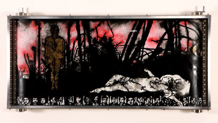Alfred Tarazi, From the Ruins, 2012, Acrylic, ink, silver & gold leaf on paper in a glass & aluminum box, 0.45 x 10 m paper/20 x 45 x 100 cm box