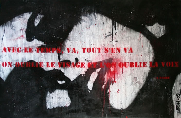 Avec le temps, 2009, Enamel and acrylic on canvas, 120 x 200 xm
