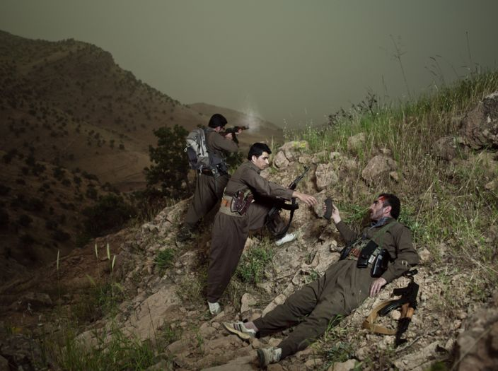 Theater of War, photographs with a group of Iranian-Kurdish guerilla fighters, Lambda print, 150 x 112 cm, Iraq, 2011-2012