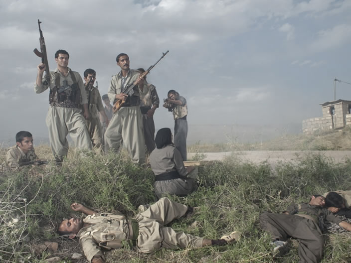 Theater of War, photographs with a group of Iranian-Kurdish guerilla fighters, Lambda print, 100 x 75 cm, Iraq, 2011-2012