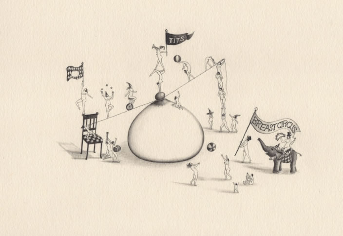Emi Miyashita, Breast Circus 03, 2011, Pencil on paper, 35 x 25 cm