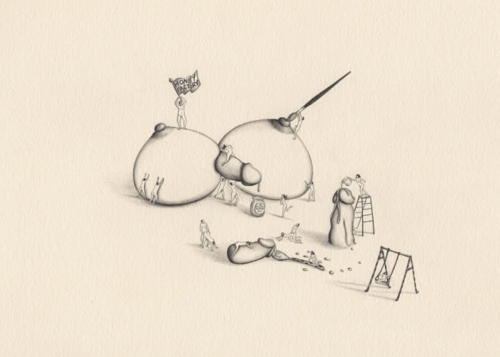 Emi Miyashita, Honey Factory, 2011, Pencil on paper, 20 x 24 cm