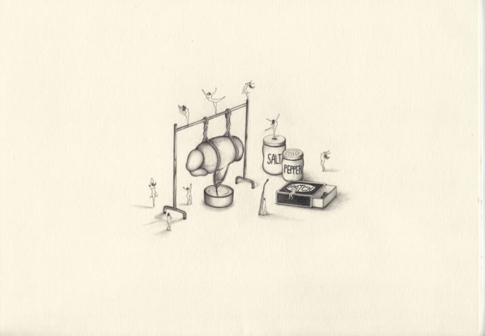Emi Miyashita, It's Sunday, 2008, Pencil on paper, 20 x 29 cm