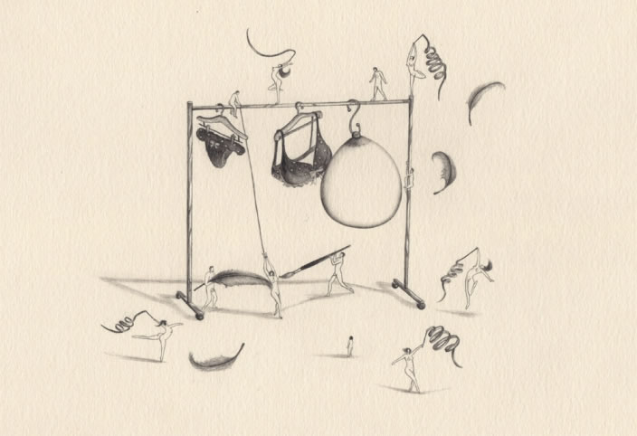 Emi Miyashita, Lingerie Shop, 2011, Pencil on paper, 26 x 22 cm