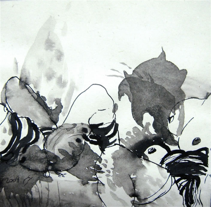 Maryam Goreyshi, Untitled (detail), Ink on paper