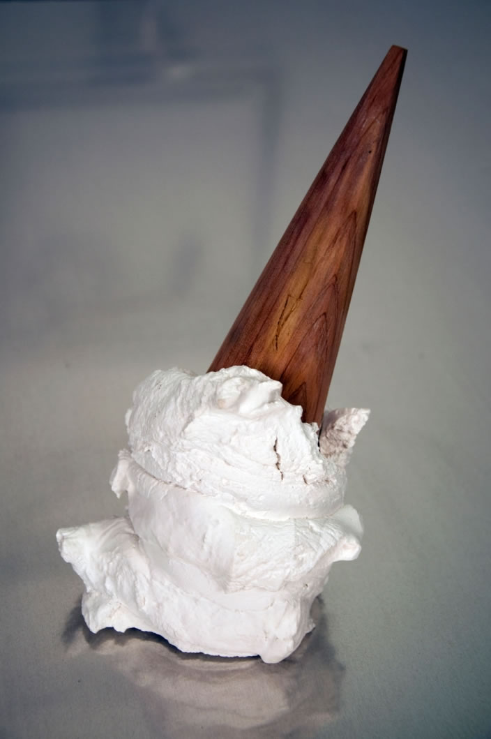 Greely Myatt, Dammit, 2011, Cedar and plaster, 17.8 x 15.3 x 7.6 cm