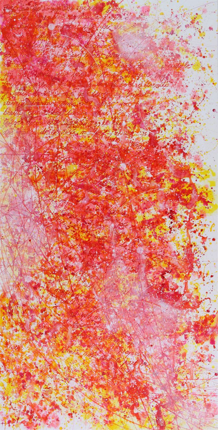 Hiba Kalache, I love you because… (Drawing 4), 2012, Ink, aquarelle & acrylic laquer on paper, 240 x 120 cm