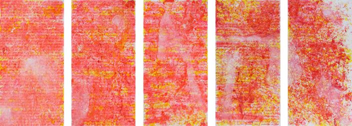 Hiba Kalache, I love you because…, 2012, Ink, aquarelle & acrylic laquer on paper, 240 x 120 cm (5 drawings)