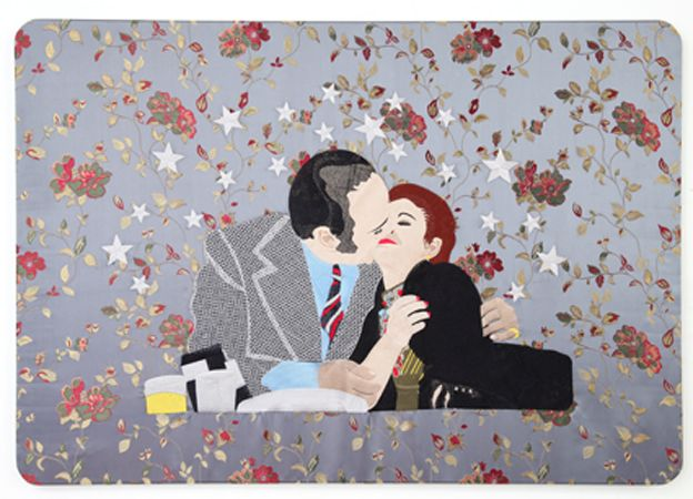 Raed Yassin, Kissing, 2013, Silk embroidery on silk embroidered cloth, 70 x 100 cm (Courtesy of Kalfayan Galleries, Athens - Thessaloniki)