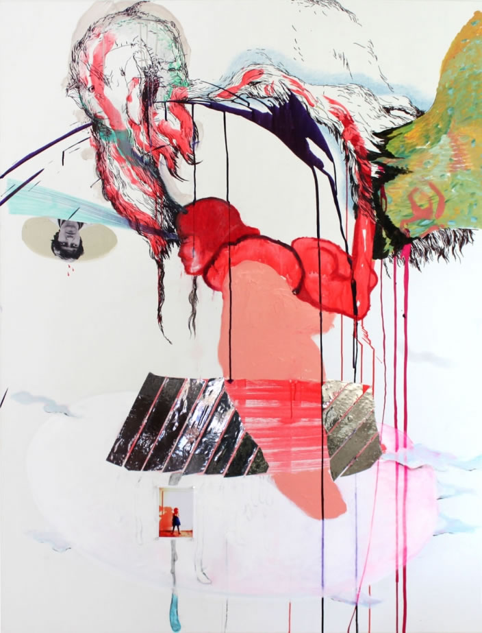 Self-portrait, 2011, Mixed media on canvas, 135 x 178 cm