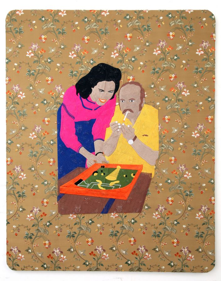 Raed Yassin, Dad smoking, 2013, Silk embroidery on silk embroidered cloth, 100 x 80 cm (Courtesy of Kalfayan Galleries, Athens - Thessaloniki)