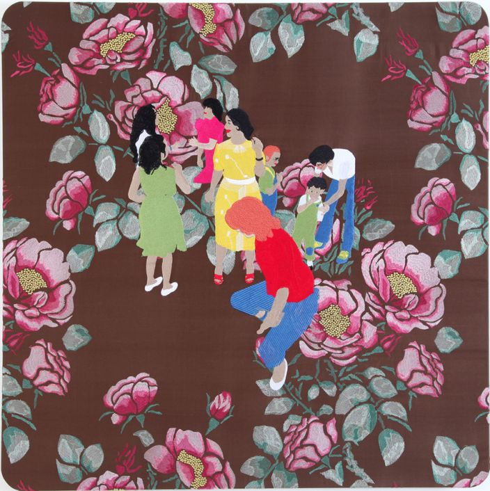 Raed Yassin, Dancing, 2013, Silk embroidery on silk embroidered cloth, 85 x 85 cm (Courtesy of Kalfayan Galleries, Athens - Thessaloniki)
