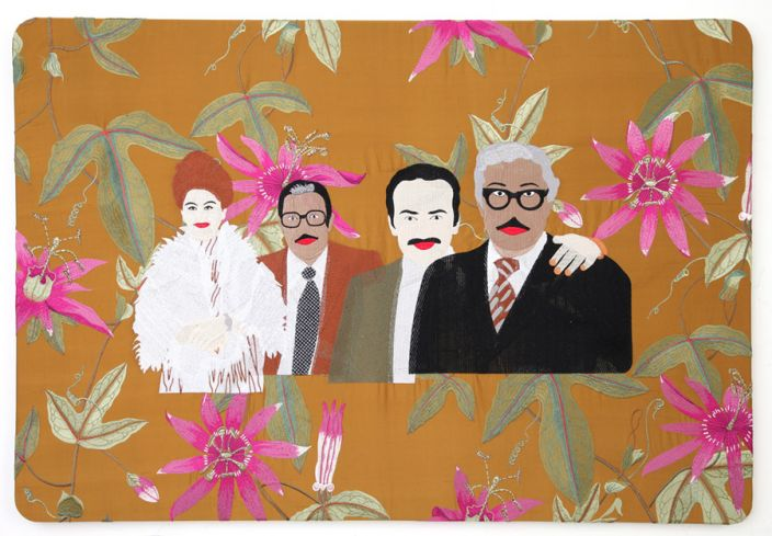 Raed Yassin, With Imad Hamdi and his twin brother, 2013, Silk embroidery on silk embroidered cloth, 75 x 110 cm (Courtesy of Kalfayan Galleries, Athens - Thessaloniki)