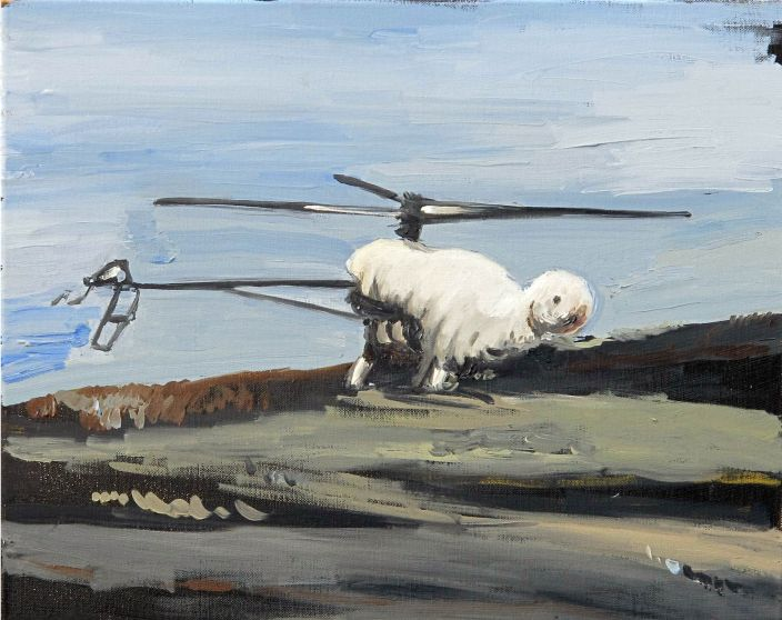 Helicopter disaster, 2013, Oil paint on canvas, 40 x 50 cm