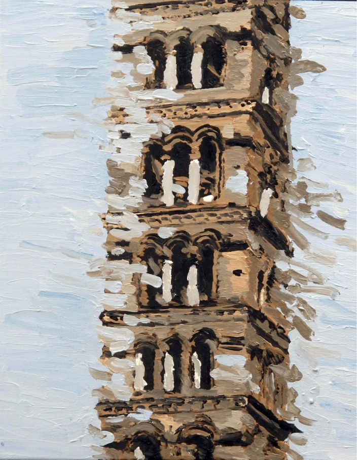 Tower blown away, 2013, Oil paint on canvas, 50 x 40 cm