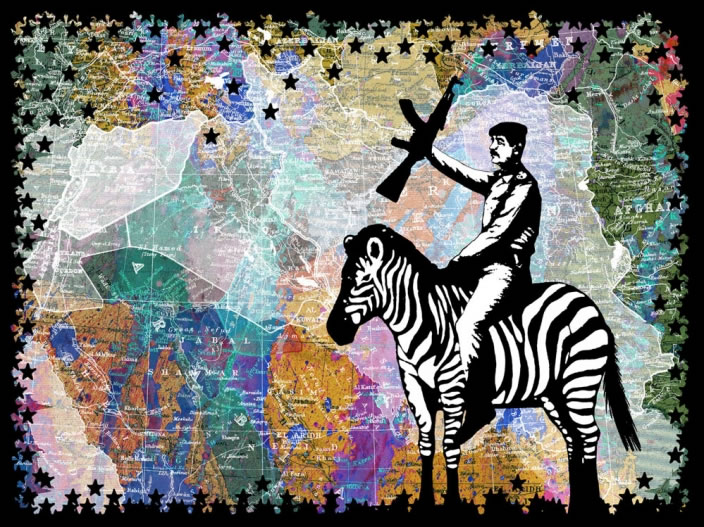Alfred Tarazi, Palestine for a Zebra, 2011, Digital collage pigment print, 150 x 200 cm, Edition 1/5