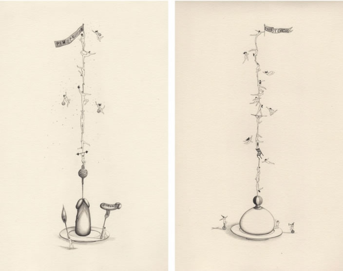 Emi Miyashita, Penis Circus Breast Circus, 2011, Pencil on paper, 25 x 36 cm each