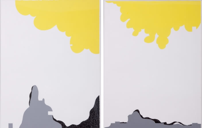 Hiba Kalache, Untitled, 2007, Acrylic on paper, Diptych, 38 x 50 cm each